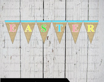 Easter Instant Download Printable Bunting Banner Sign Pennant