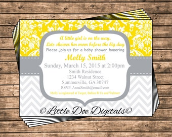 Personalized Yellow Damask and Gray Chevron Baby Shower Invitation - Printable Digital File