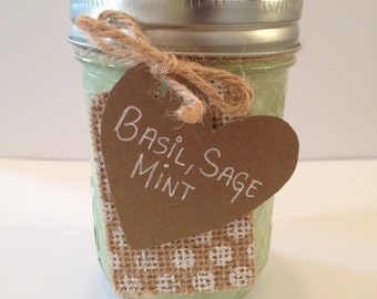 Aromatherapy Scent - Basil, Sage & Mint fragrance soy candle in 8 oz container