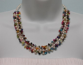 VNK12 Beautiful 18.5- inches Long Genuine Freshwater Pearl Necklace with .925 Sterling silver Clasp
