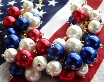 All-American Chunky Pearl Statement Necklace // Red White and Blue Pearl Cluster Necklace