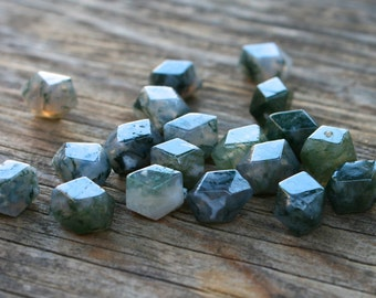 Natural Moss Agate Gemstone Beads - Set of 4