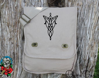 Lord of the RIngs inspired Evenstar Canvas Messenger Bag - Laptop Bag - Ipad Bag - School Bag - Diaper Bag