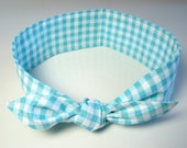 Retro Hair Scarf Aqua Blue Gingham Rockabilly Headband Light Blue Retro Headband Top Knot Headband