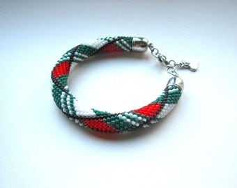 Bracelet - Beaded Crochet Bracelet - Bangle - White/Brown/Green/Red - Beadwork - Geometric Pattern