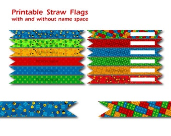 Lego Party Printable Straw Flags, Lego Birthday Party Decorations, Lego Stickers, Lego Labels, Everything is Awesome - INSTANT DOWNLOAD