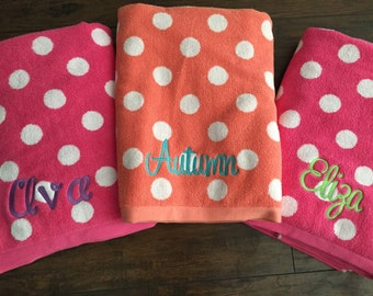 SALE // Monogrammed Polka Dot Beach Towel- Hot Pink
