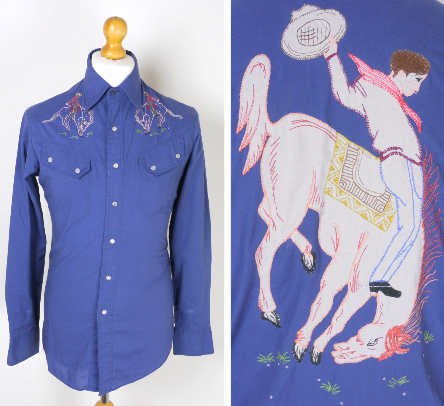 Western shirt in blue with embroidered rodeo horse riding
