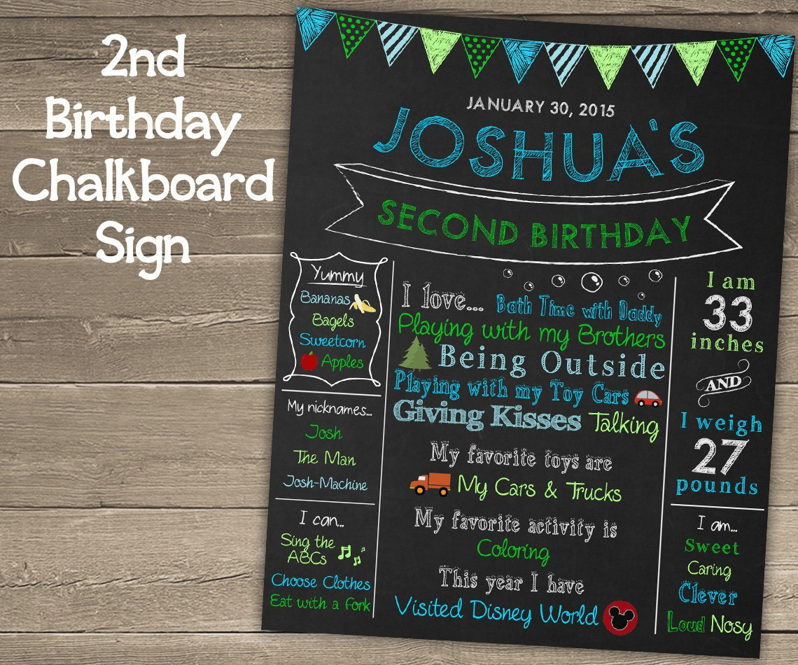 2nd Birthday Chalkboard Sign For Second Birthday Party Second