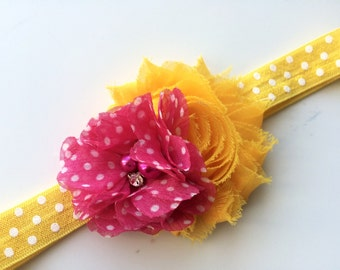 Yellow and Hot Pink Flower Headband for Girls -Yellow Polka Dot Headband - Toddler Headband Photo Prop - Pink Lemonade Headband for Baby