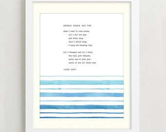 Lang Leav Before There Was You, Love poetry art, typewriter poetry, Watercolor Quote, love poem, gift for him, valentine's day gift