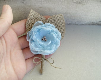 Beach Wedding Boutonniere, Blue Burlap Boutonnieres, Rustic Boutineers