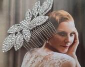 Comb, Headpiece, Rhinestone Leaves, Crystal Bow Hair Ornament