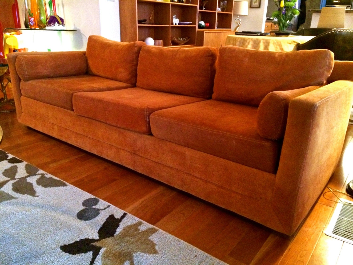Reserved for halwax mid century modern selig monroe sofa with for Orange sofa