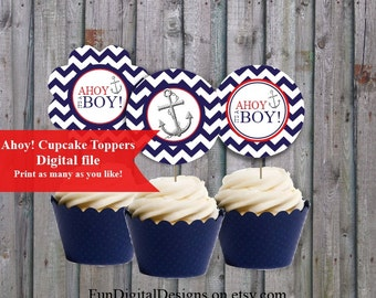 Ahoy its a Boy!  Navy and Red Baby Shower Cupcake toppers Its a boy, printable, digital file, PDF,  DIY,