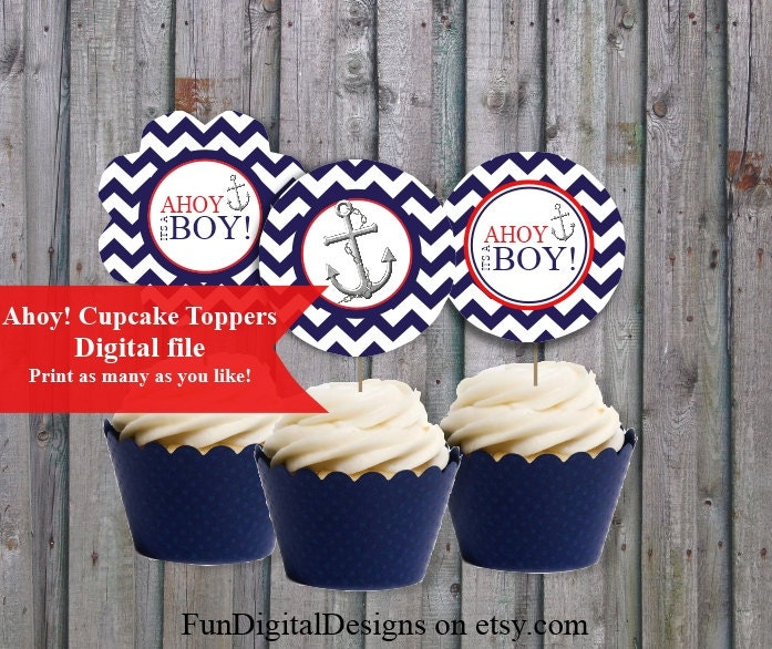 ahoy its a boy navy and red baby shower cupcake toppers its