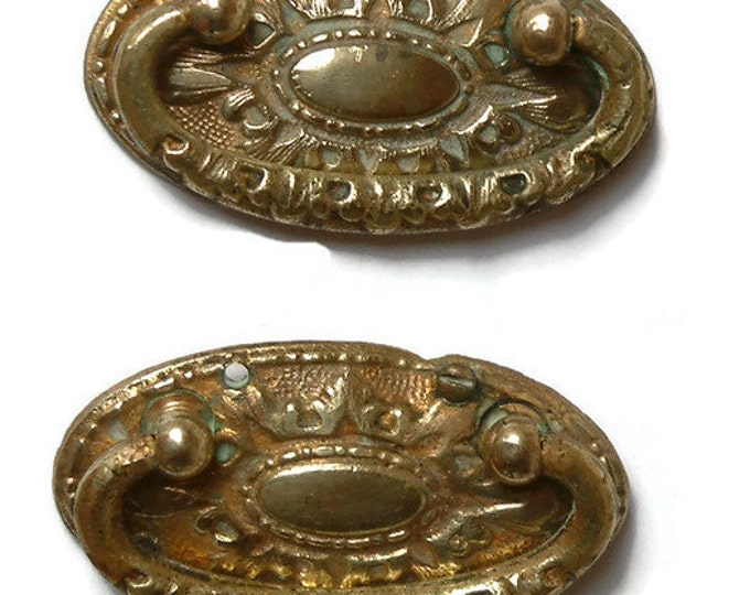 Antique Solid brass Ornate Drawer Handle / Drawer Drop Pull/Art deco/Authentic antique/Antique Art Deco Drawer Handle /Escutcheon/ Ornate