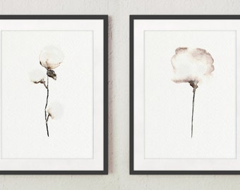 Set of 2, Cotton bolls, Natural floral painting, Giclee art print, White home decor, Natural cotton art, Mother's day gifts