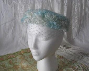 Vintage Powder Blue and white Floral Pillbox hat