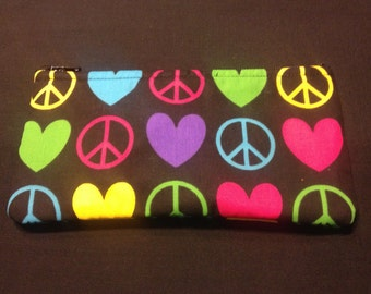 Peace and Love on Black Pencil Case / Zipper Pouch #163