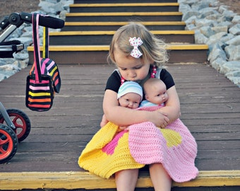 Crochet Doll Heart Blanket ~ Crochet Doll Blanket ~ Crochet Toy Blanket ~ Crochet Small Blanket ~ Crochet Heart Blanket ~ Crochet Blanket