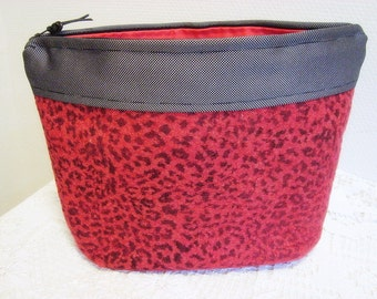 Large Cosmetic Bag, Red Leopard Makeup Bag, Felted Wool Zipper Pouch Bag