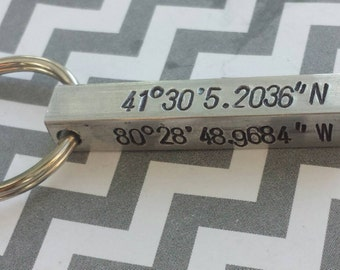 hand stamped latitude longitude four sided rectangular cubed key chain