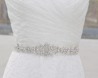 High quality bridal sash, crystals on satin sash