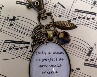 Mum and Daughter Quote Keyring/Bag Charm, Vintage Style