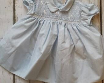 Baby blue smocked dress for girls vintage 1980s