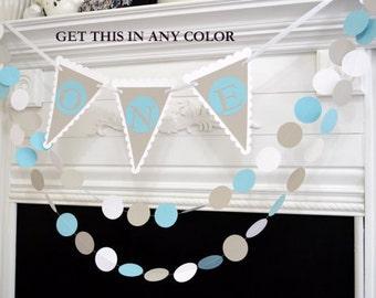 Baby's first birthday, I am one banner garland set, Baby boy 1st Happy Birthday decorations, gray blue white party decor, birthday banner