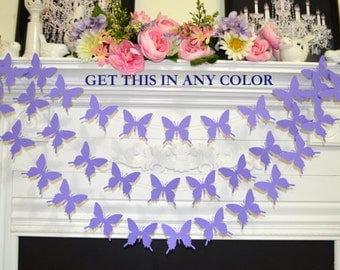 Butterfly Garland, lavender/purple butterflies baby shower decoration, bridal shower butterfly theme banner, purple wedding garland, mobile