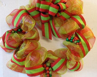 "Red Green Jingle Bell Ornaments Christmas Holiday Wreath 25"" New OOAK"