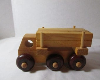 wooden toy logging truck Montgomery Schoolhouse Made in Vermont vintage 1970s