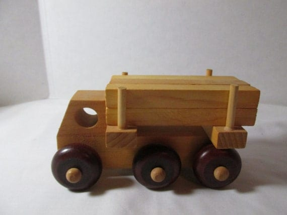 Wooden Toy Logging Truck Montgomery Schoolhouse Made In