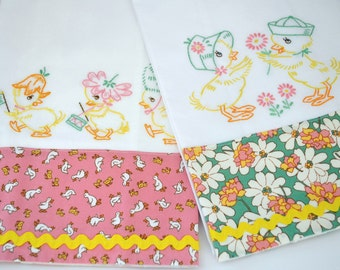 Hand Embroidered Easter Ducklings Tea Towel Set