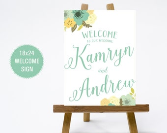 PRINTABLE 18x24 Chalkboard Aquamarine Green Yellow Floral Wedding Welcome Sign - Print Poster Board - Chalk Design