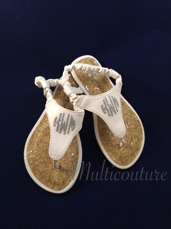 Sandals: Infants & Toddlers Vinyl Monogrammed Sandals