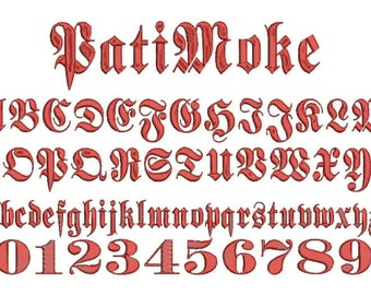 0.5-3 Inch PatiMoke Font Aa-Zz and 0 -9 Embroidery Design Come with .BX Ready Font!