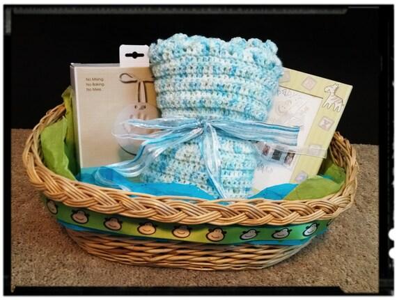 Baby Gift Basket Etsy : Baby gift basket handmade crochet blanket by ninothebeano