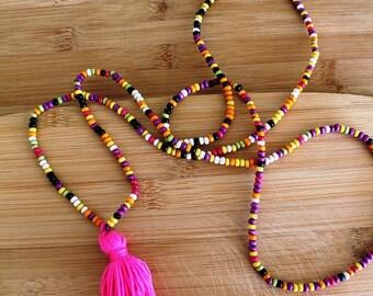 multicolor tassel necklace. Boho necklace. Boho street style,beach,summer