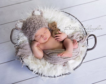 baby bear hat prop baby fotography props