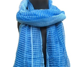 Blue scarf/ check scarf/ long scarf / handwoven scarf/ gift ideas.