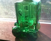 Vintage Italian Green Glass Car Shaped Decanter Bottle Novelty Barware from Italy 8 inch.