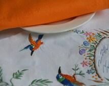 Vintage 1960s Irish linen embroidered tablecloth, unused
