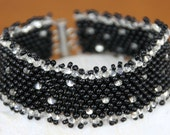 Black and Silver-lined Peyote Stitch Bracelet