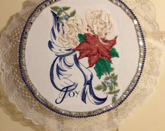 """Christmas embroidered decorations.  Mounted on a wooden hoop  18""""diameter"""