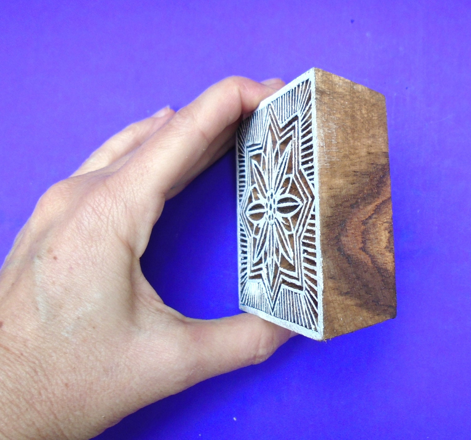 Hand carved square wood fabric textile stamp indian print
