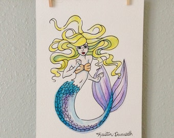 Original Watercolor Blonde Mermaid (5x7)