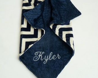 Navy Chevron Personalized Baby Blanket -  Baby Boy Chevron Stroller blanket or lovey- Custom Made - You Choose Minky Color and Blanket Size